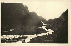 Odda-Norwegen-Norge-Hordaland-Postkarte-AK-1926-Groensdal-Berge-Tal-Dalen-Haeuser