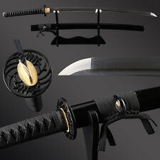 Handmade Full black folded steel Japanese samurai katana sword full tang blade