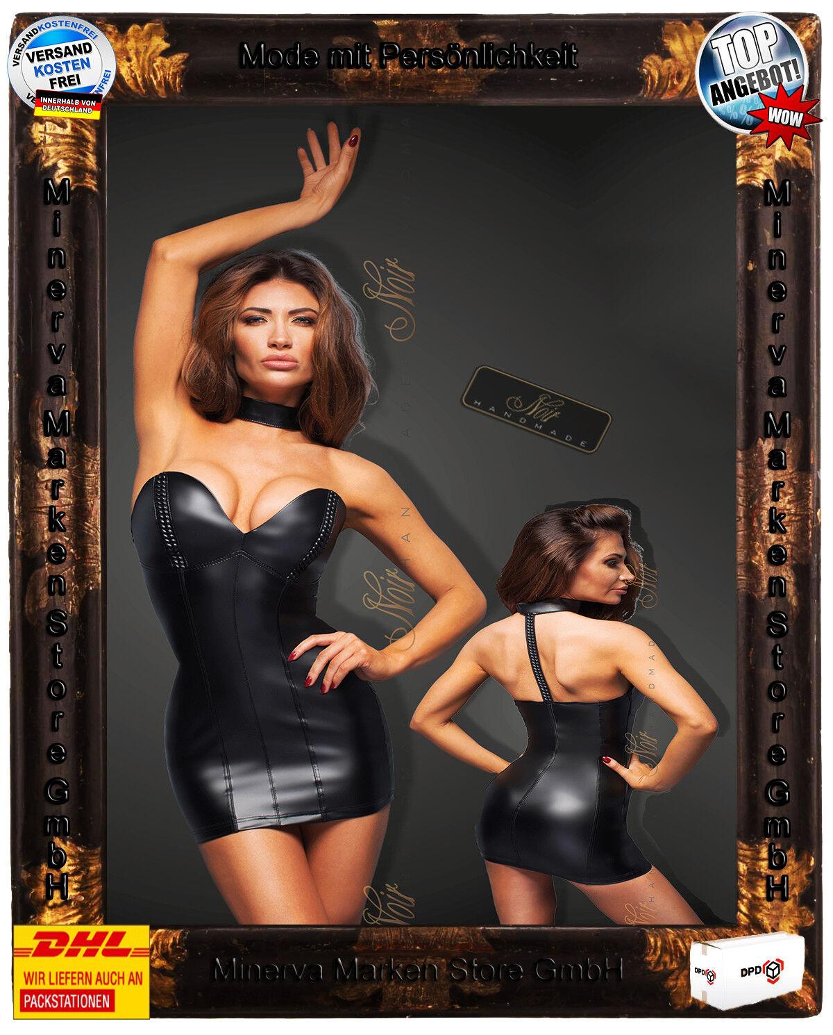 schwarz Handmade schwarzes Powerwetlook Minikleid F172 Clubwear GoGo Gothic PVC