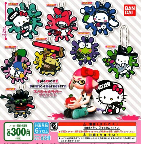 BANDAI Splatoon 2 �~ Sanrio rubber All 8set Gashapon mascot toys Complete set