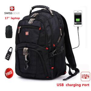 "SwissGear Multifunctiona<wbr/>l USB Port 17"" laptop backpack Waterproof Travel Bag"