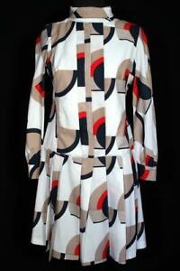 VINTAGE-FRENCH-1970-039-S-WHITE-RED-BLUE-amp-TAUPE-POLY-GEO-MINI-DRESS-SIZE-6