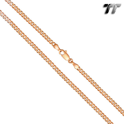 TTstyle Gold Filled Curb Chain Necklace 3 Colours Available 45-60cm length NEW