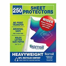 New Listingsamsill Recycled 250 Heavyweight Sheet Protectors Non Glare For 3 Ring Binder