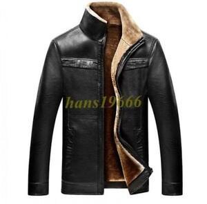 Mink-Fur-Coat-Fur-Lined-Overcoat-Mens-Jacket-Leather-Parka-Outwear-hot-sale