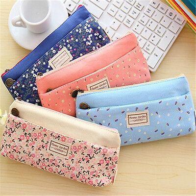 Cosmetic Makeup Bag Floral Canvas Double Zipper Pencil Case Coin Pouch Purse New