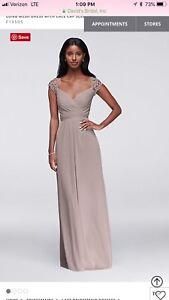 93d6e38c33d Image is loading Davids-Bridal-Long-Mesh-Bridesmaid-Dress-Cameo