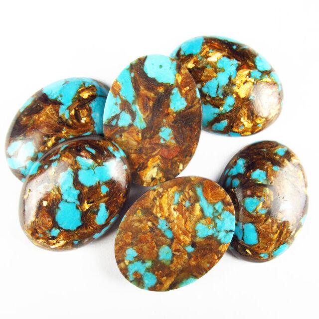 2Pcs Pretty Turquoise /& Gold Copper Bornite Stone CAB CABOCHON DIY 25*18*6mm