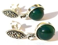 AUSDRUCKSSTARKES GRÜN Markasit Grünachat 925 Silber smaragdgrüne Ohrringe