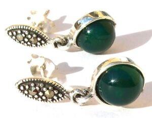 MAGIC-EXPRESSIVE-GREEN-Markasit-Gruenachat-925-Silber-lge-smaragdgruene-Ohrstecker