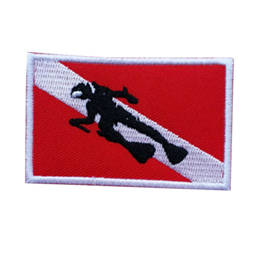 70x45mm Scuba Diving Diver Down Flippers Flag Patch Bag Embroidered Iron On