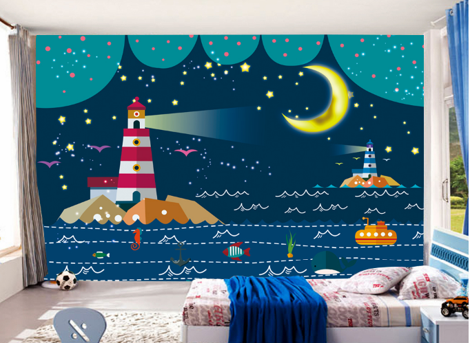 3D Moon Lighthouse Paper Wall Print Wall Decal Wall Deco Indoor Murals