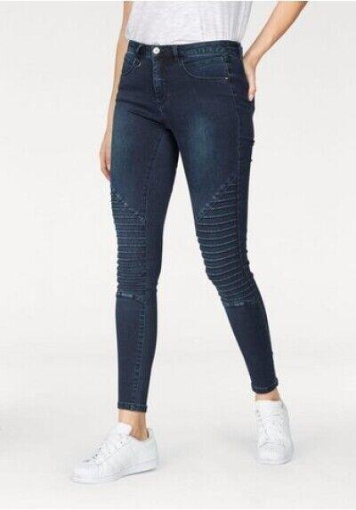 Jeans Royal Biker Skinny SIZE L Ladies Slim Stretch Trousers Dark bluee Denim L30
