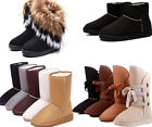 Women's Classic Winter Snow Ankle Boots Mid-calf Fur Lined Flat Shoes Free Ship