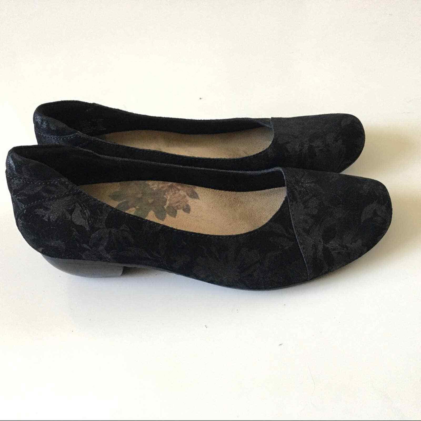 Taos Debut Black Floral Suede Slip On Shoes