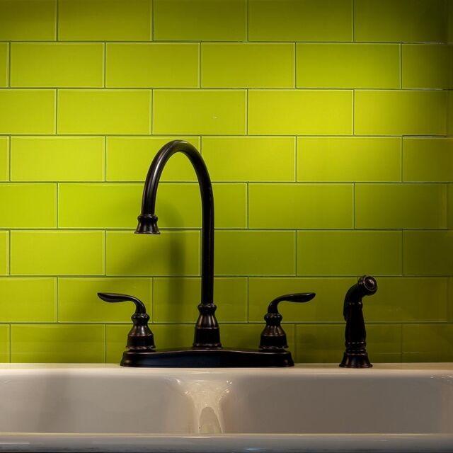 Peel And Stick Tile Self Adhesive Glass Wall Kitchen Backsplash Green  Yellow 8pc