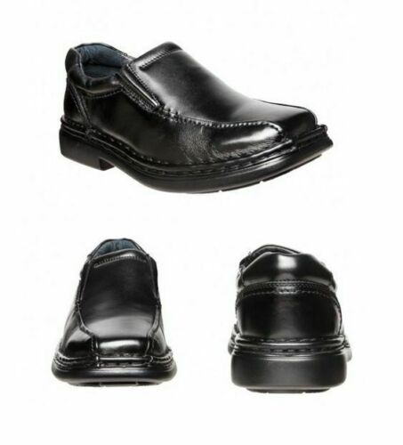 MENS HUSH PUPPIES LEXICON EXTRA WIDE MEN/'S BLACK LEATHER WORK SLIP ON SHOES