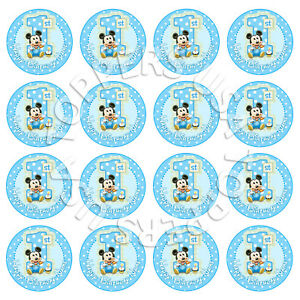 16x EDIBLE Baby Mickey Mouse 1st Birthday Cupcake Toppers Wafer 4cm