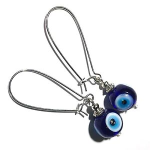 Long-Blue-Evil-Eye-Glass-Bead-Earrings-Drop-Dangle-Silver-Style-UK-MADE