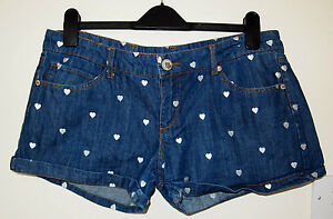 PRIMARK-BLUE-HEART-PRINT-SPOTTY-TURN-UP-SUMMER-JEANS-HOT-PANTS-DENIM-SHORTS-12-M