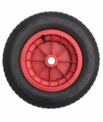 "14/"" PNEUMATIC  WHEELBARROW WHEEL 3.50//4.00-8 comes with 1/"" bore fully assembled"