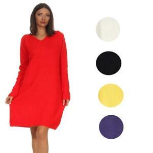 Damen Pulloverkleid Pullover Kleid Langarm Gestrickt Kleider Casual V Ausschnitt Ebay