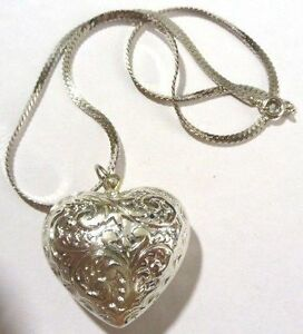 Bijou-Vintage-collier-pendentif-c-ur-couleur-argent-chaine-serpent-3883