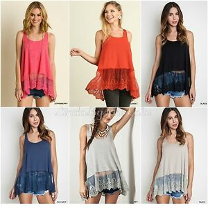 e8cf41aa6e8 NEW UMGEE Ribbed Tank Top With Lace Trim Layering Boho Extender ...