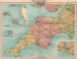Map Of The South West Of England.South West England Devon Cornwall Somerset Channel Islands