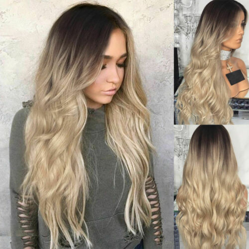 """28/"""" Women Brown Blonde Long Curly Wigs Ladies Ombre Silver Wavy Hair Cospaly Wig"""