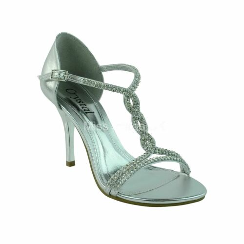 WOMENS LADIES PARTY PROM EVENING BRIDAL DIAMANTE HIGH HEEL SANDALS SHOES SIZE