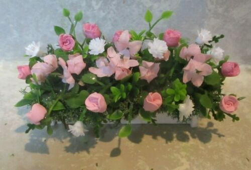 """3/"""" miniature doll//dollhouse window box//polymer pink//mauve roses//white carnations"""