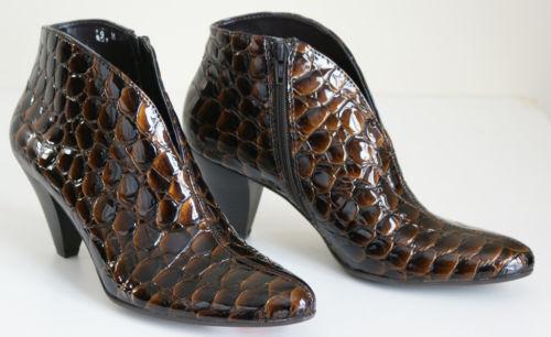 325 SESTO MEUCCI ABRIL CROCO ANKLE Stivali Shoes Donna Brown 8.5 NEW IN BOX