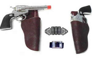 Kids-Gunslinger-Western-Cowboy-Holster-Set-w-Pistols-Belt-amp-Ammo-play-toy