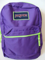 Jansport Superbreak Purple Backpack Girls Book Bag School Pack Padded Neon