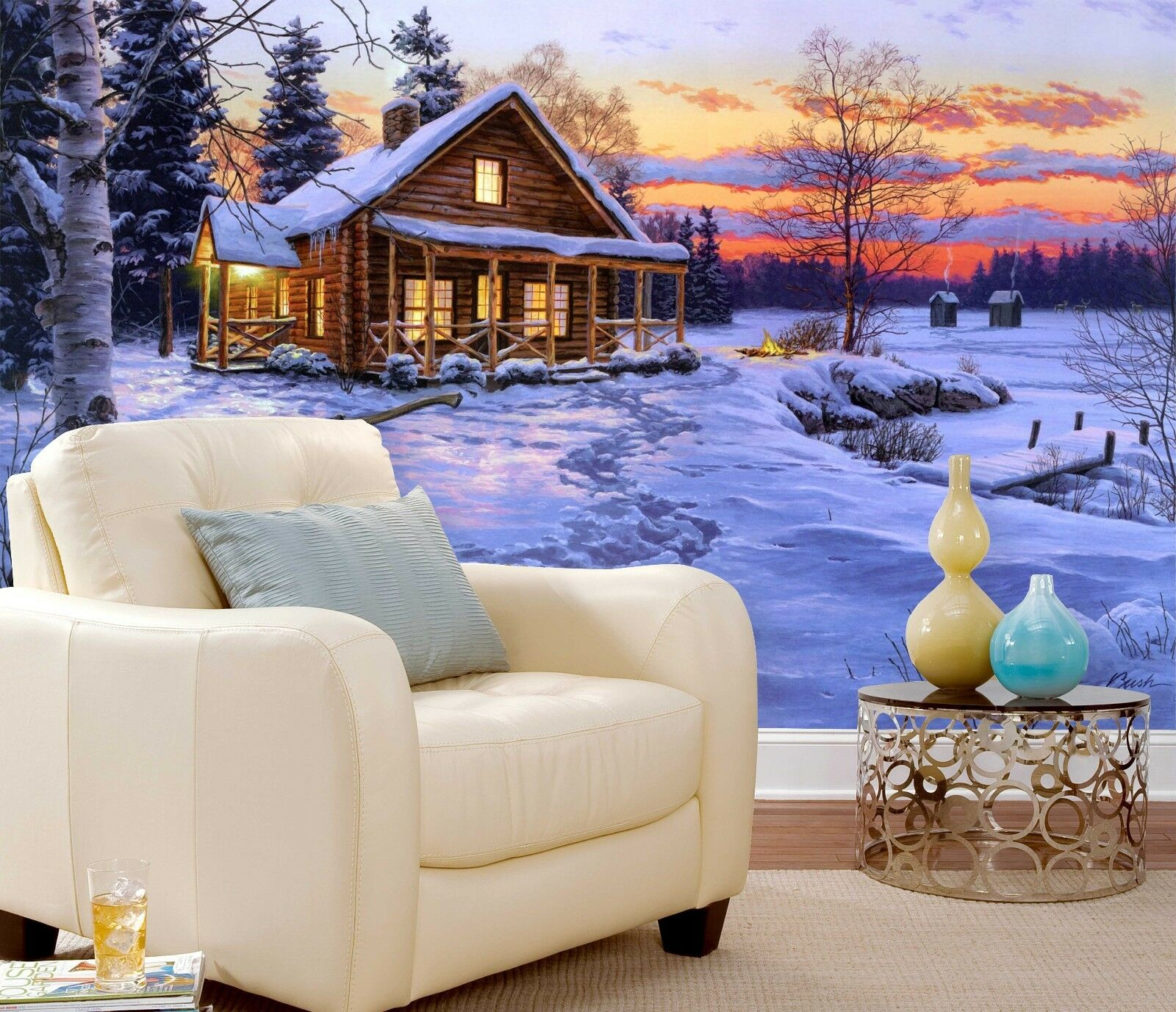 3D Snowed Cottage Sunset 271 Paper Wall Print Wall Decal Wall Deco Indoor Murals