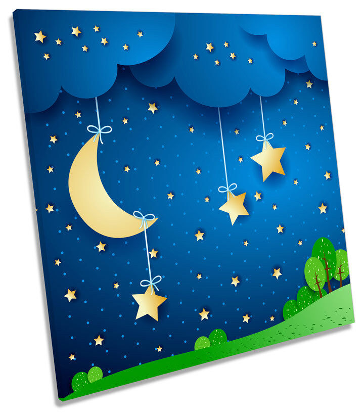 Moon Stars Kids Room Nursery CANVAS WALL ART SQUARE Picture Print