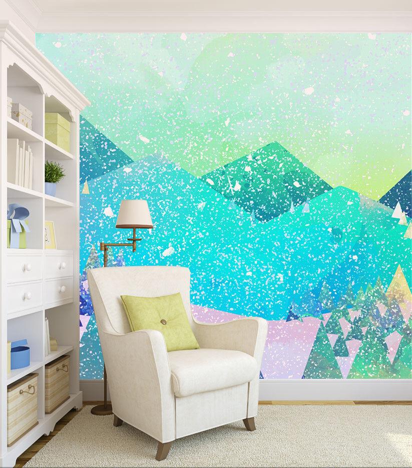 3D Snowing Hills 702 Wallpaper Murals Paper Wall Print Wallpaper Mural UK
