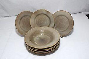 Image is loading Ruff-Hewn-Pottery-Swirl-Rim-Soup-Bowls-9- & Ruff Hewn Pottery Swirl Rim Soup Bowls 9-3/4\