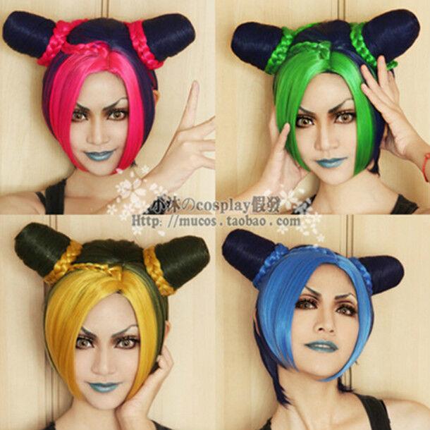 New JOJO's Bizarre Adventure JOLYNE KU Style Dark Blue with 4 Colors Cosplay Wig