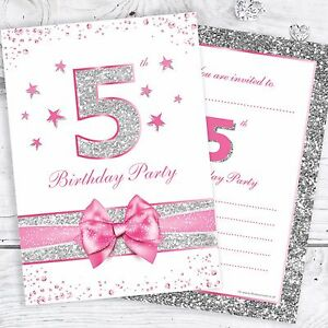 Image Is Loading 5th Birthday Party Invites Pink With Faux Silver