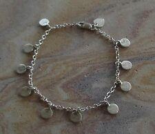 Designer Me & Ro Hammered Sterling Silver Disc on Chain Bracelet ~ Retail $220