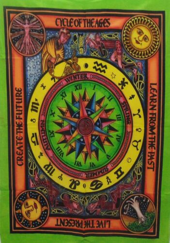 Tapestry Throw Indian Cycle Of Age English Raashi Zodiac Decor Wall Hanging Boho