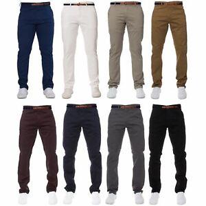 ENZO-Para-Hombres-Pantalones-Slim-Fit-Algodon-Elastico-Pantalones-Chinos-Con-Cinturon-BIG-amp-TALL