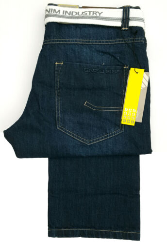 Da Uomo Enzo Standard Regular Fit Di Base Fashion Jean Cerniera EZ 324-Blu Scuro