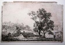 Domenico Quaglio Kleines Haus in einer Landschaft Radierung um 1810 Selten