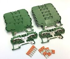 Lot Of 13 Entrelec D255p4l Grounding Spring Clamp Terminal Blocks With Jumpers