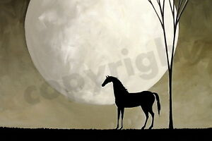 Inspirational horse girl love moon art DC folk ACEO giclee PRINT of painting