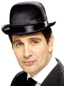 Black-Felt-Velor-Bowler-Hat-Victorian-Fancy-Dress-Costume-Accessory-New