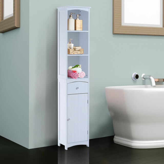 HOMCOM Bathroom Storage Cabinet Tall Towel Organizer Wood Tower Shelves  Cupboard